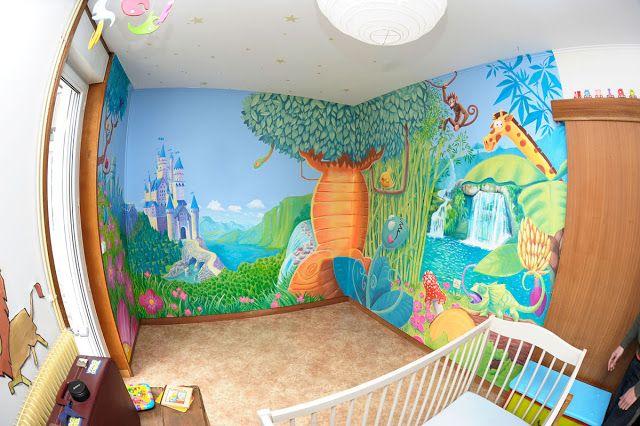 cr ation d 39 une fresque pour une chambre d 39 enfant ambiance jungle et ch teau de princesse les. Black Bedroom Furniture Sets. Home Design Ideas