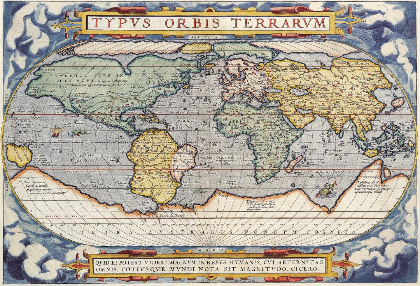 HISTORIC WORLD MAP FROM 1657 PHOTO POSTER GIFT BEAUTIFUL COLOUR PRINT
