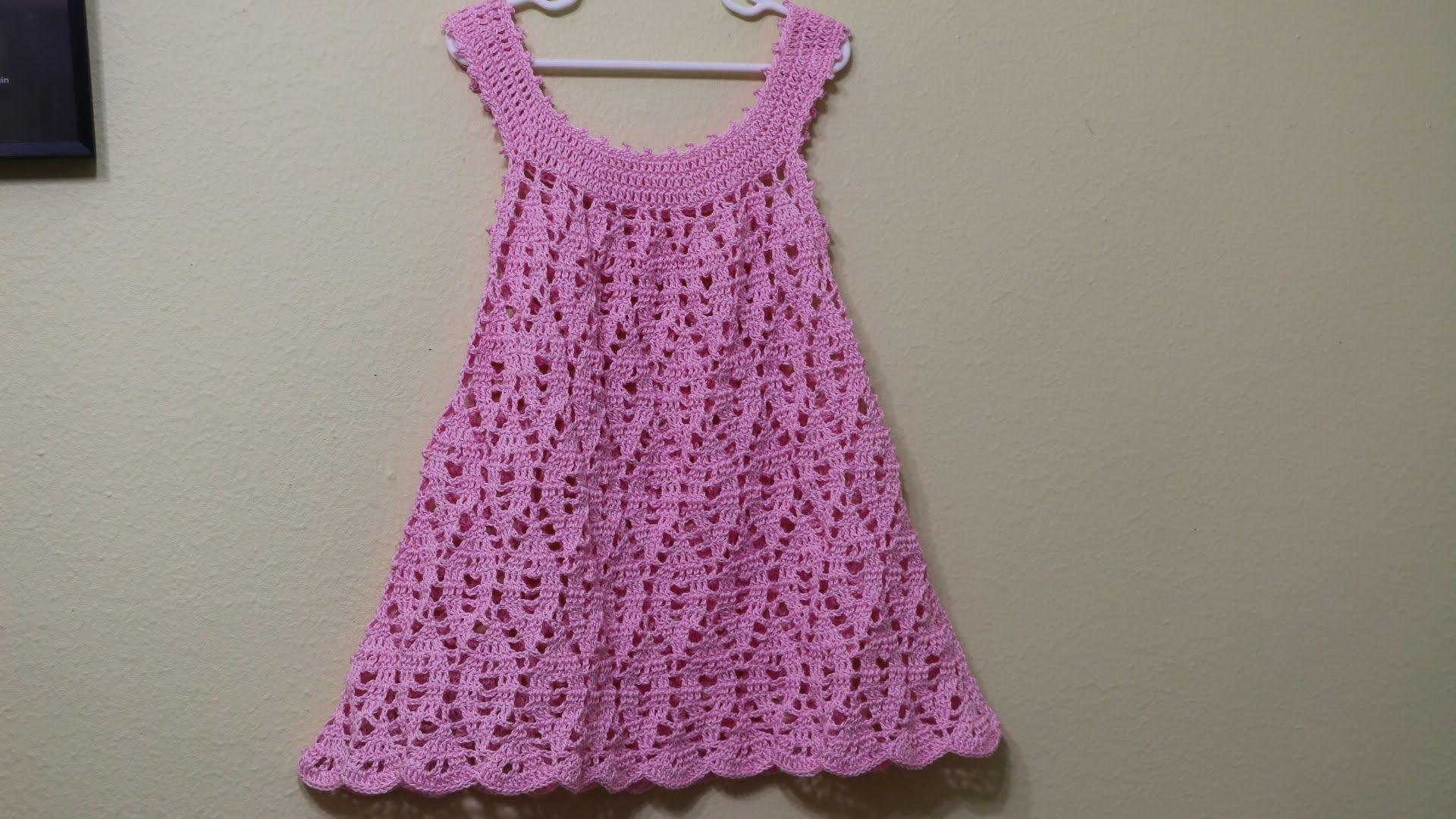 bab0b7a6c4e1 Vestido Falda de Encaje Rosa 3 a 4 Años | crochet dresses for kids ...