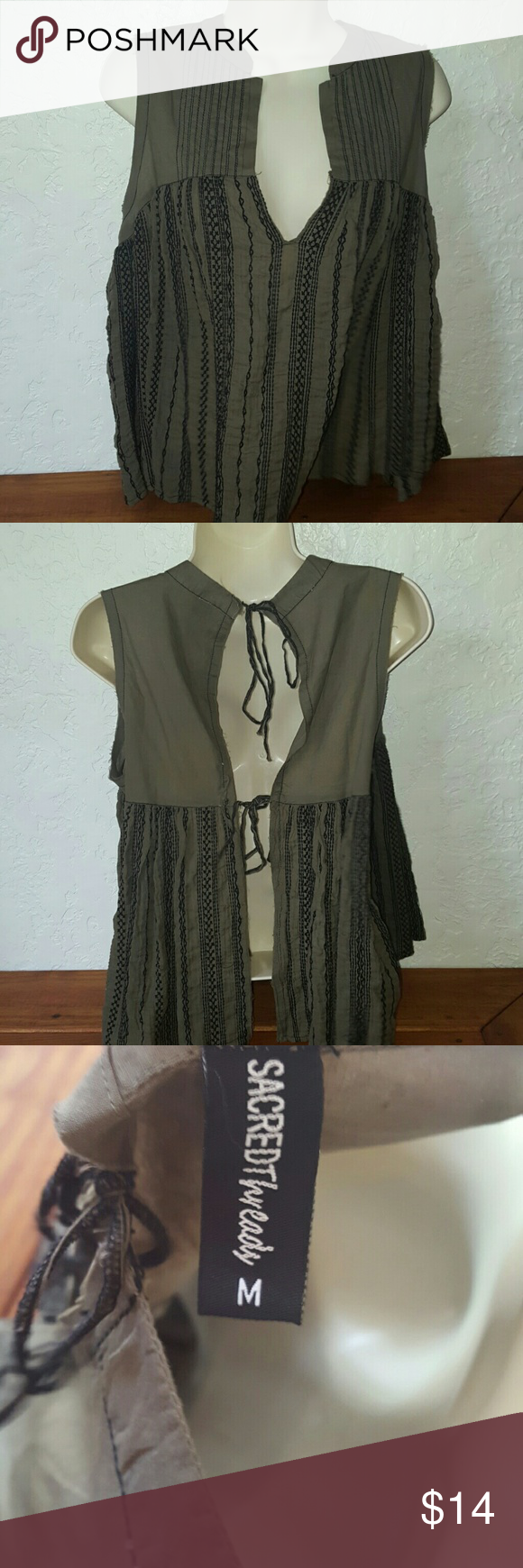 SACRED THREADS/ New without Tags  $14 Very beautiful/ open back/ never worn/ sage green/ like new/ Reg $45 Sacred Threads  Tops Blouses
