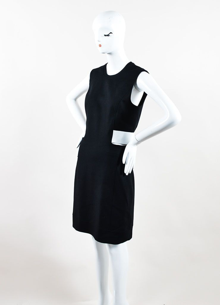 """Black and White Leather and Wool Blend """"Flex Suit"""" Dress"""