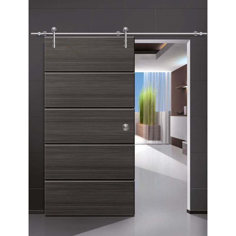 Beyerle Usu35ds 2540ef Satin Stainless Steel Unotec 100 Inch Long Wood Barn Door Fitting Set In 2020 Doors Interior Modern Wood Doors Interior Barn Doors Sliding