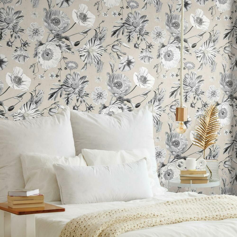 Vintage Poppy Peel And Stick Wallpaper Peel And Stick Wallpaper Room Visualizer Roommate Decor