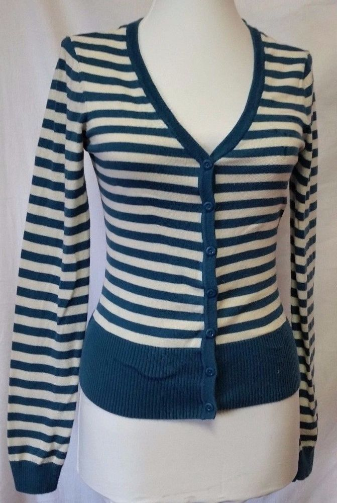 H\u0026M Cardigan Womens size XS Striped Teal button up Sweater extra small