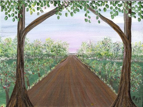 This was featured in an ETSY Treasury today.  I am so honored! APPLE ROAD Original Acrylic Painting on Wood  by Majo