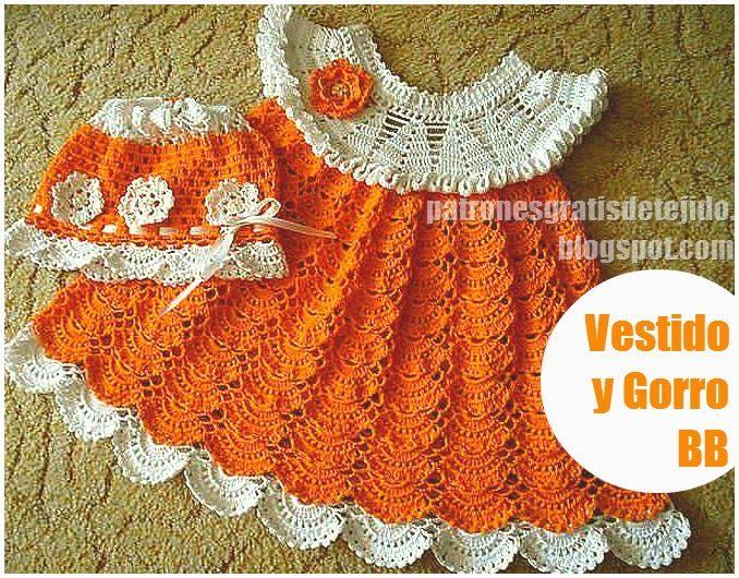 Patrones crochet de vestido infantil en punto abanico | Crochet y ...