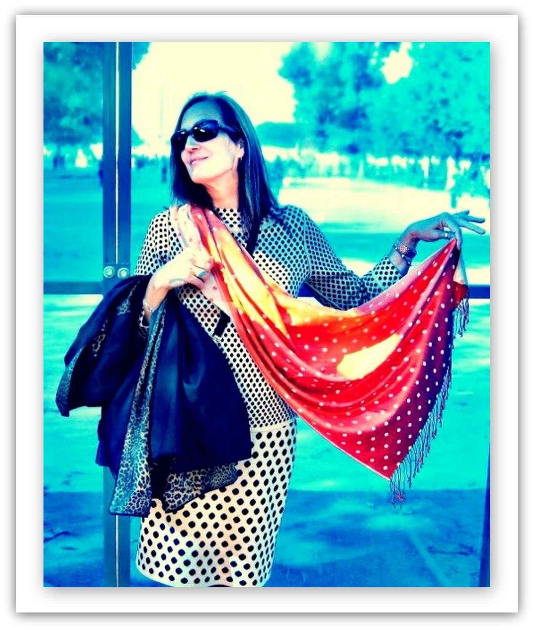 """Lisa from Washington, in our """"Polka Dot"""" knit top & """"Ditto"""" knit skirt.  www.etcetera.com"""