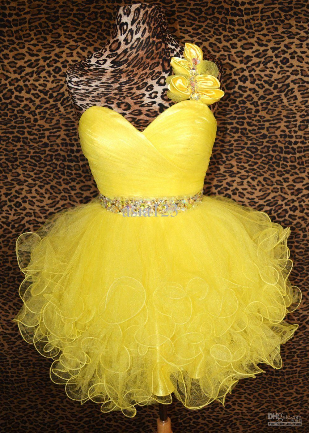 Wholesale prom dresses buy hot yellow cocktail short