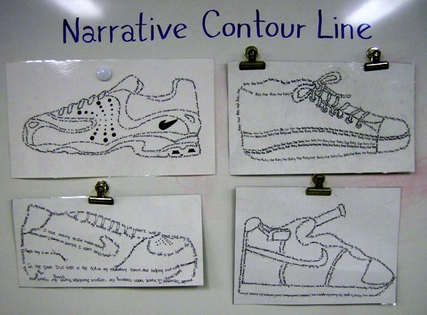 Contour Line Drawing Lesson Middle School : Quot narrative contour line shoes lesson th grade art
