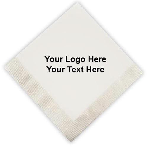 """10 x 10 Inch Promotional 1-Ply Beverage Napkins: Available Colors: White. Product Size: 10"""" x 10"""". Imprint Area: 3.5 x 3.5. Case Weight: 18 lbs. Packaging: 5000. Material: Recycled Fabric. #customnapkins #promotionalproduct  #tradeshowgiveaway"""