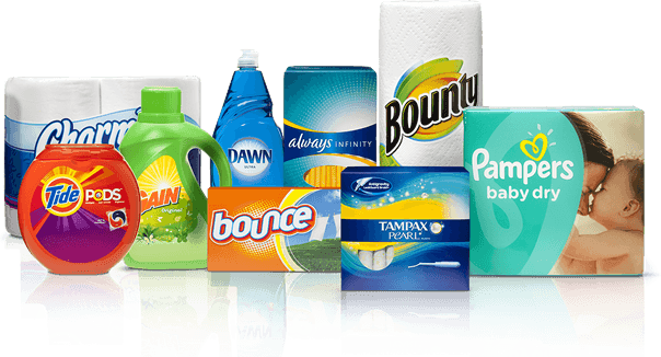 An Array Of P G Products Including Bounty Pampers And Tampax Are Featured Along An Orange Decorative Mosaic Background Brand Strategy Tampax Coupon Websites