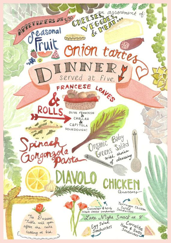 Custom Watercolor Menu Wedding Paper Goods Hand Lettered Succulents Ilrations Cake Poppies Le S Bakery Rosticceria Capitola California