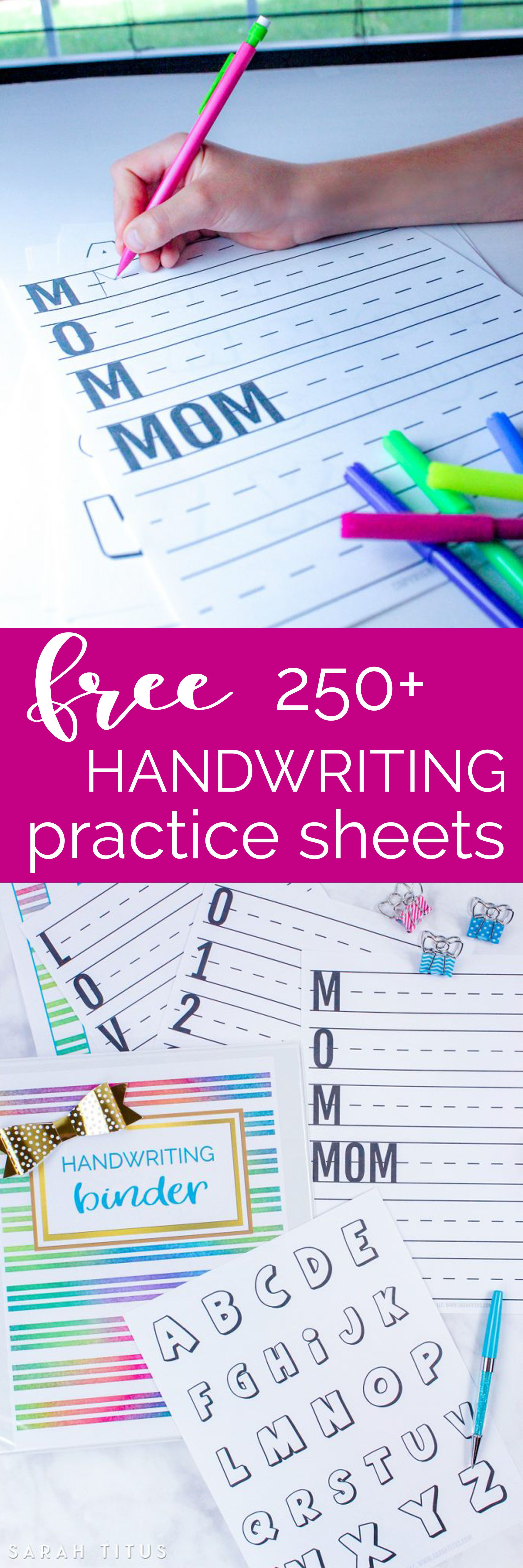 Free 60+ page Handwriting Binder - Pre-K to 2nd Grade | Reward ...