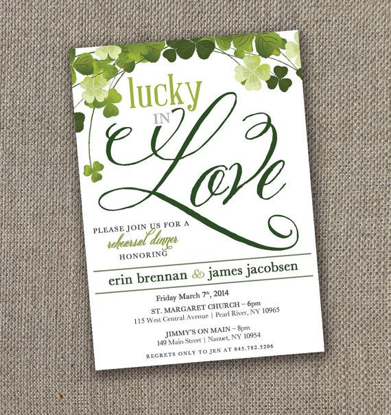 Lucky In Love  Rehearsal Dinner Invitation Digital File