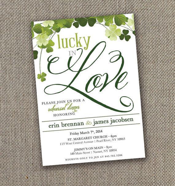 lucky in love rehearsal dinner invitation irish wedding diy