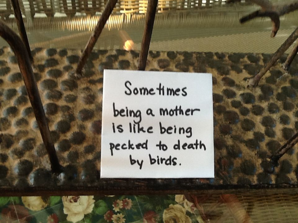 Sometimes being a mother is like being pecked to death by birds.