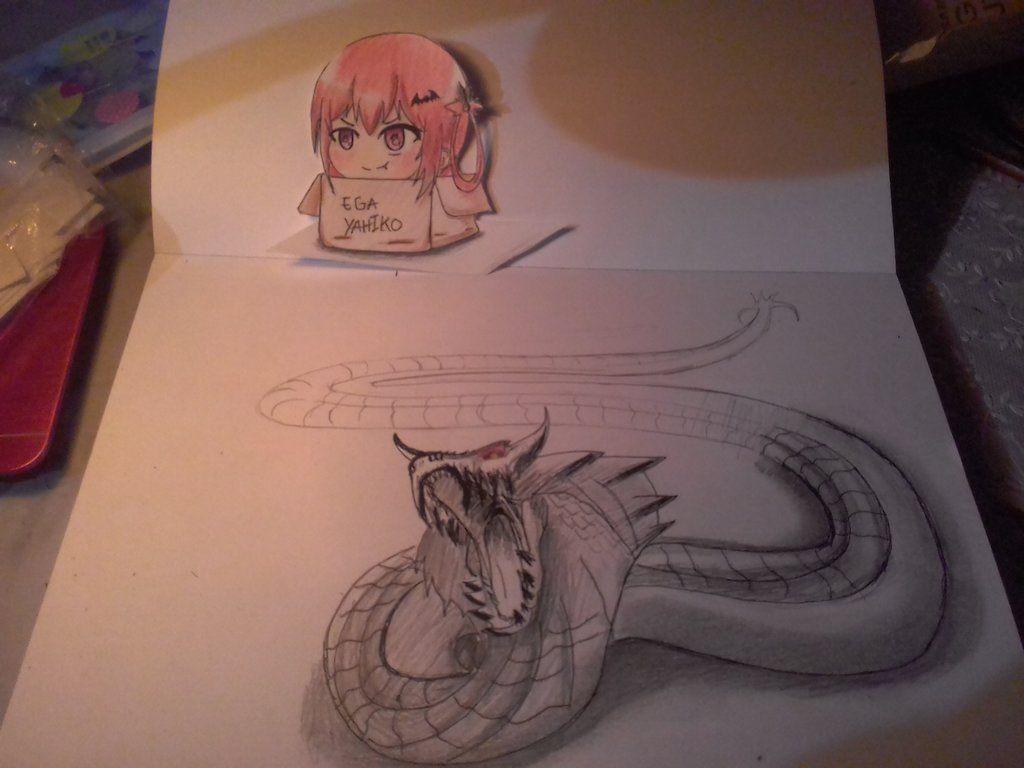 Dragon 3d art pensil by egayahiko