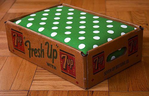 One-Of-A-Kind Soda Crate Beds by designer Tom Davie, advertised on dog milk