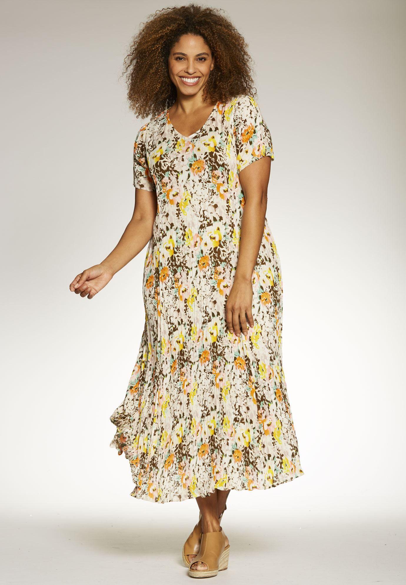 Plus Size Short sleeve crinkle dress