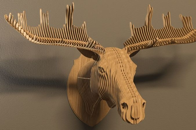 elk head 3d model max obj dxf 1 | КАРТОН
