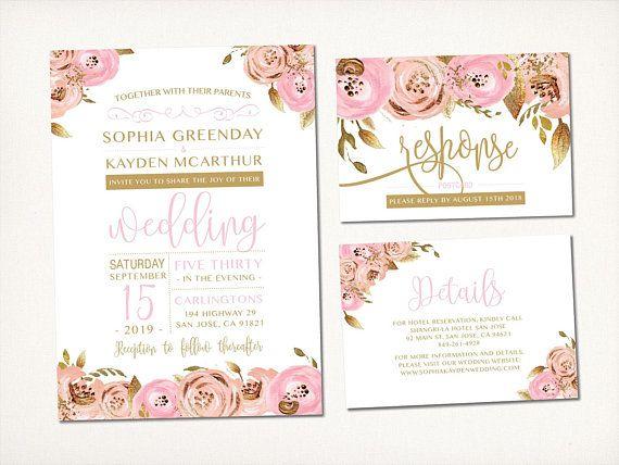 Wedding Invitation Blush Gold Flowers Sweet