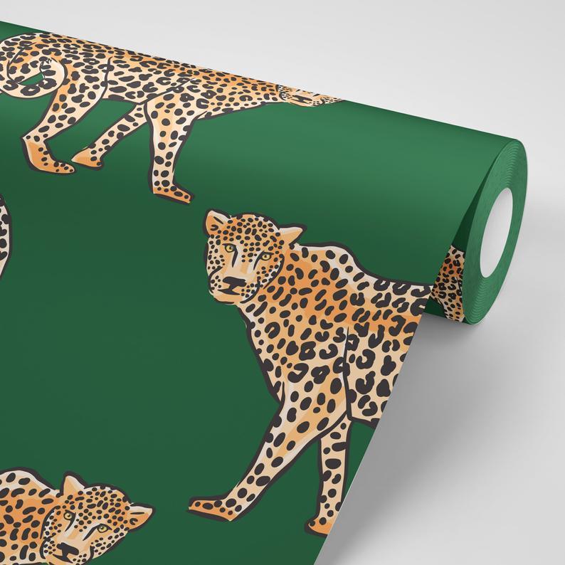 Jungle Leopard Removable Wallpaper Tropical Removable Etsy Removable Wallpaper Wallpaper Adhesive Wallpaper
