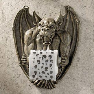 <strong>Design Toscano</strong> Wall Mounted Flush The Gargoyle Bathroom Tissue Holder