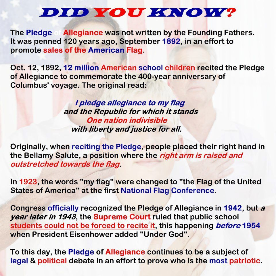 Pledge Of Allegiance Facts Sheet Joining Award Pledge