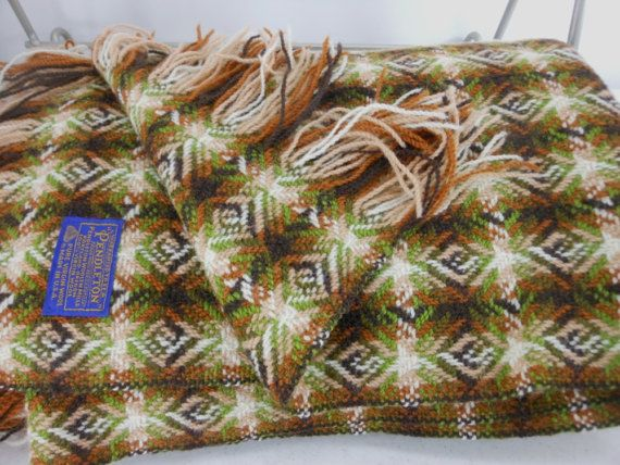Pendleton Woven Wool Blanket Throw Browns Olive By Patziplace