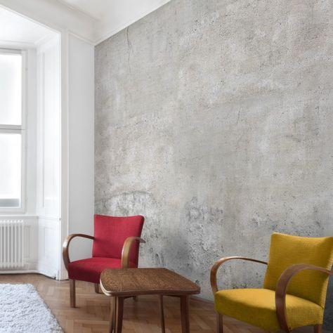 Beton Tapete Vliestapete - Shabby Betonoptik Tapete - Fototapete - retro tapete wohnzimmer