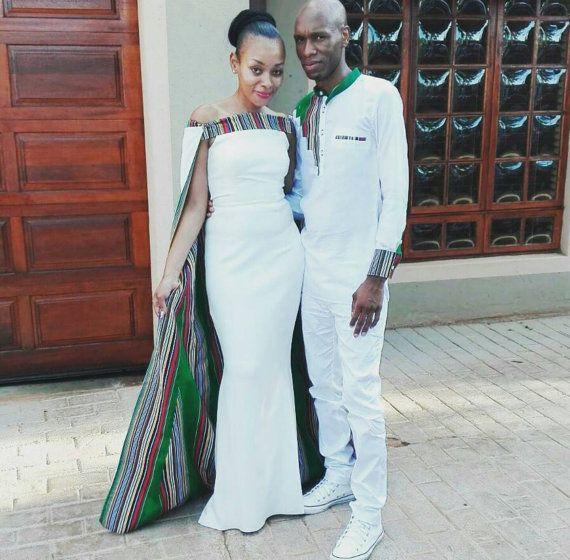 Venda Traditional Modern Dresses: African Inspired Women's Wedding Cape Dress/couple