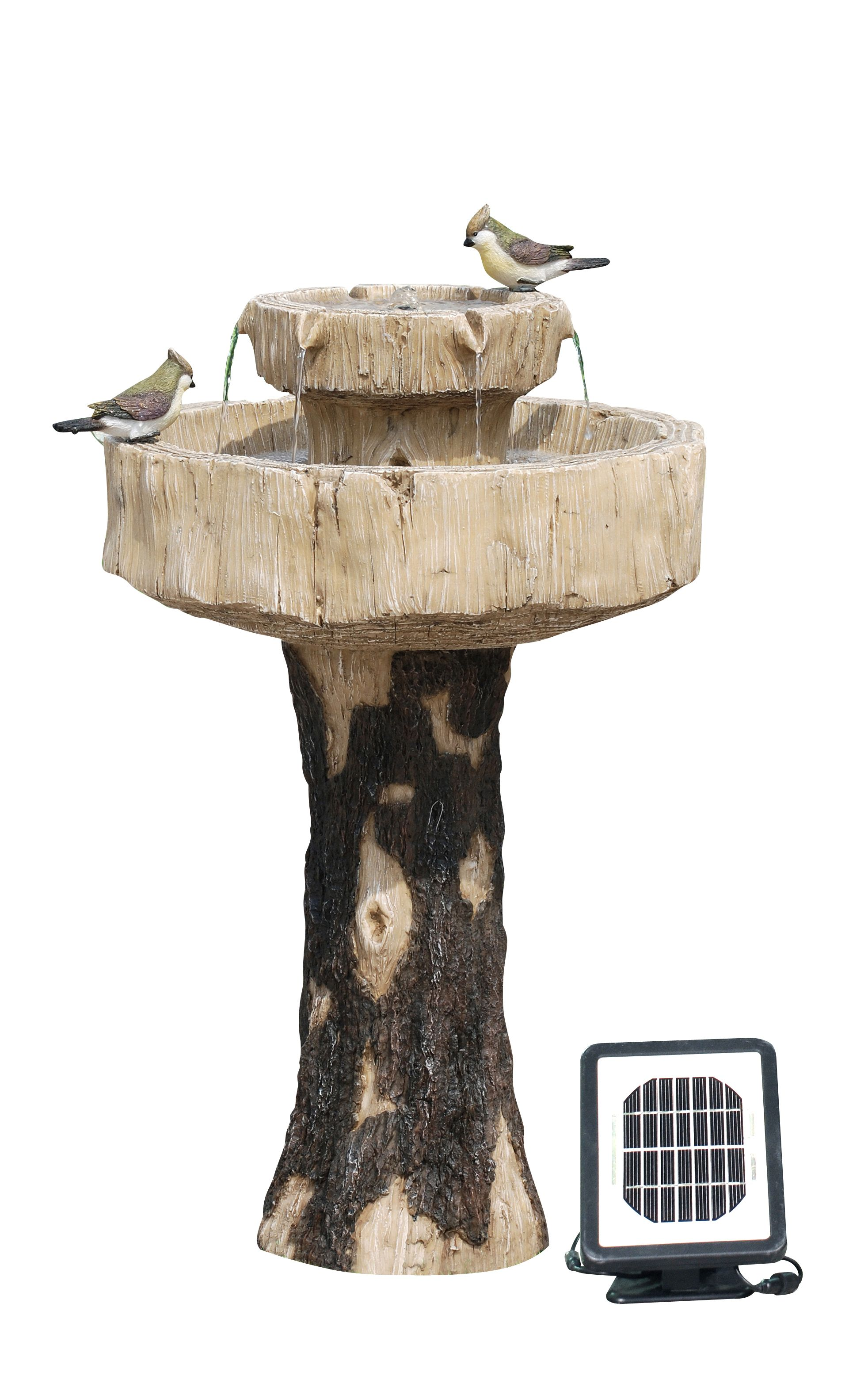 solar 2 tier bird bath water fountain w birds backyard