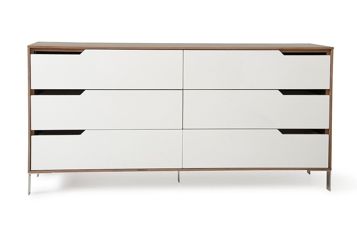 Modrest River Modern White Walnut Dresser