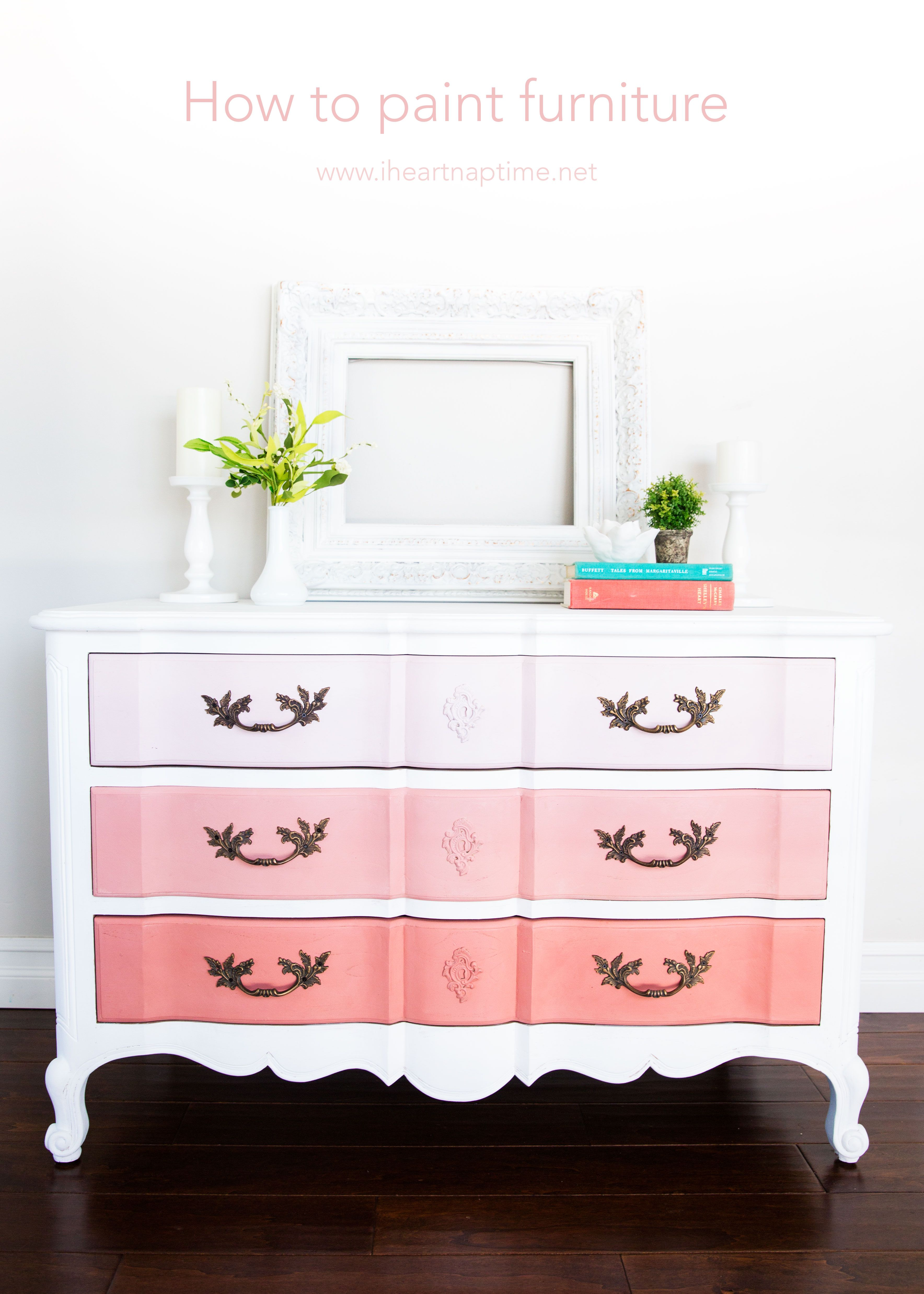 How To Paint Furniture And Ombre Dresser Painting Old