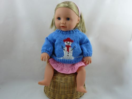 Snowman Jumper For 16 Doll Knitted Dolls Clothes Free Knitting
