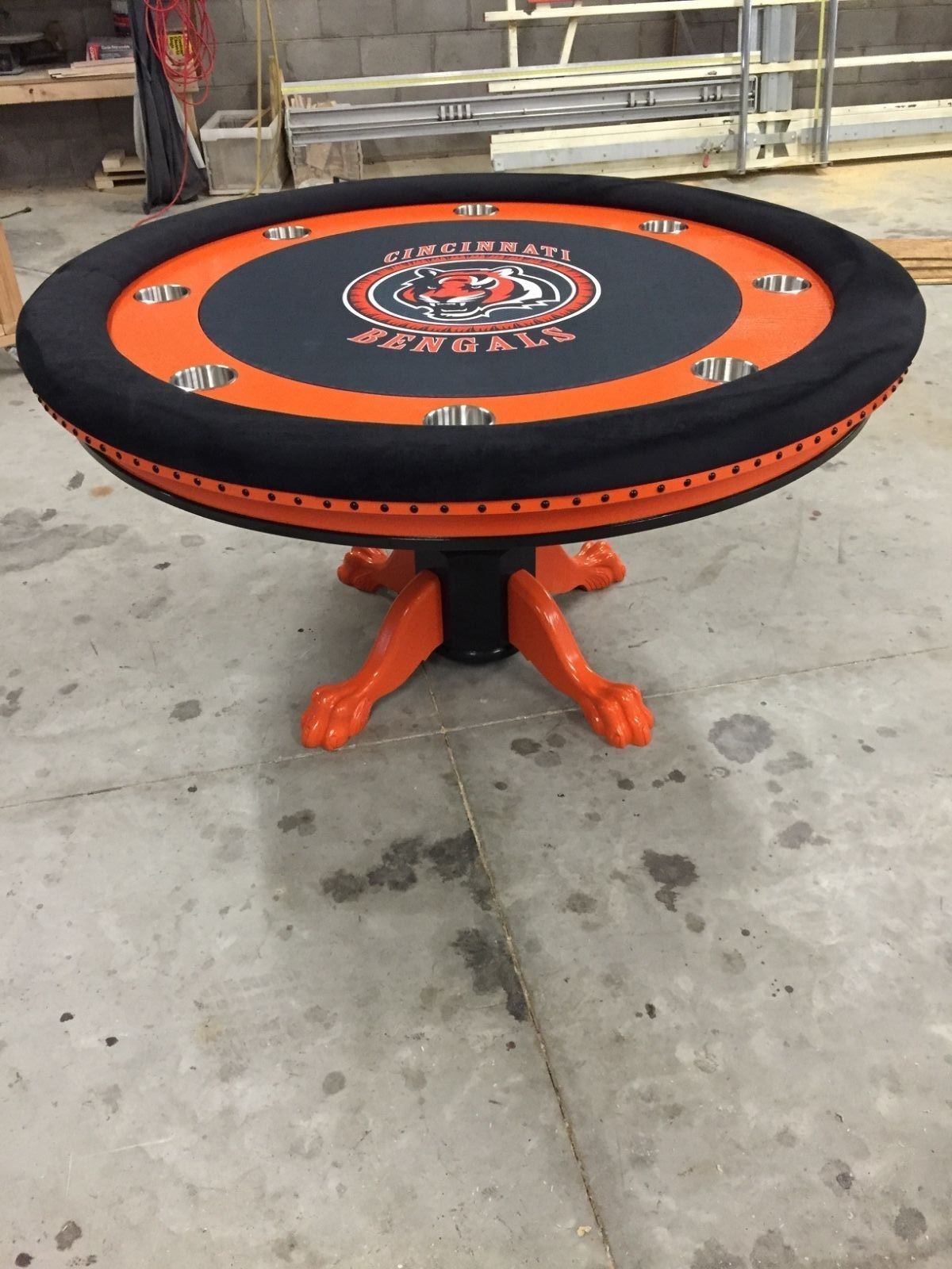 Round Cincinnatti Bengals Sports Themed Poker Tables Round Poker Table Poker Table Poker Table Diy