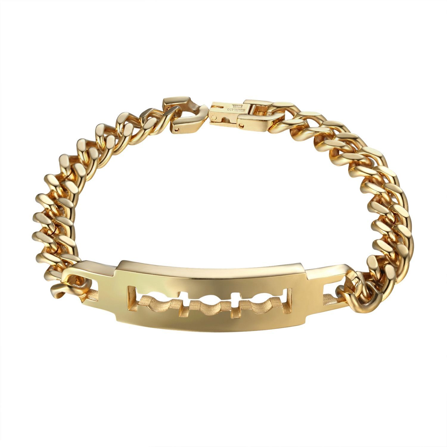 Razor blade design bracelet stainless steel mens k gold finish