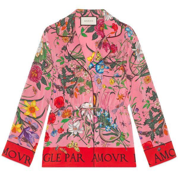 529a065589d53 Gucci Flora Snake Silk Shirt ( 1