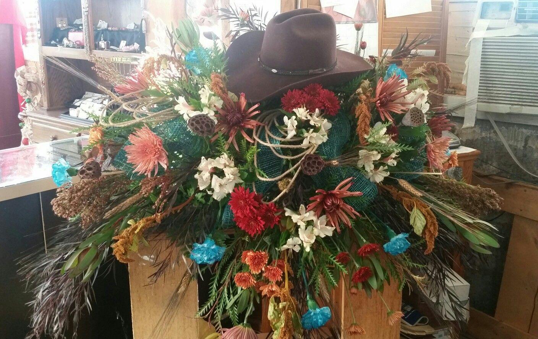 Western fresh flower casket spray thats levis cowboy hat western fresh flower casket spray thats levis cowboy hat untilwemeetagain mightylinksfo