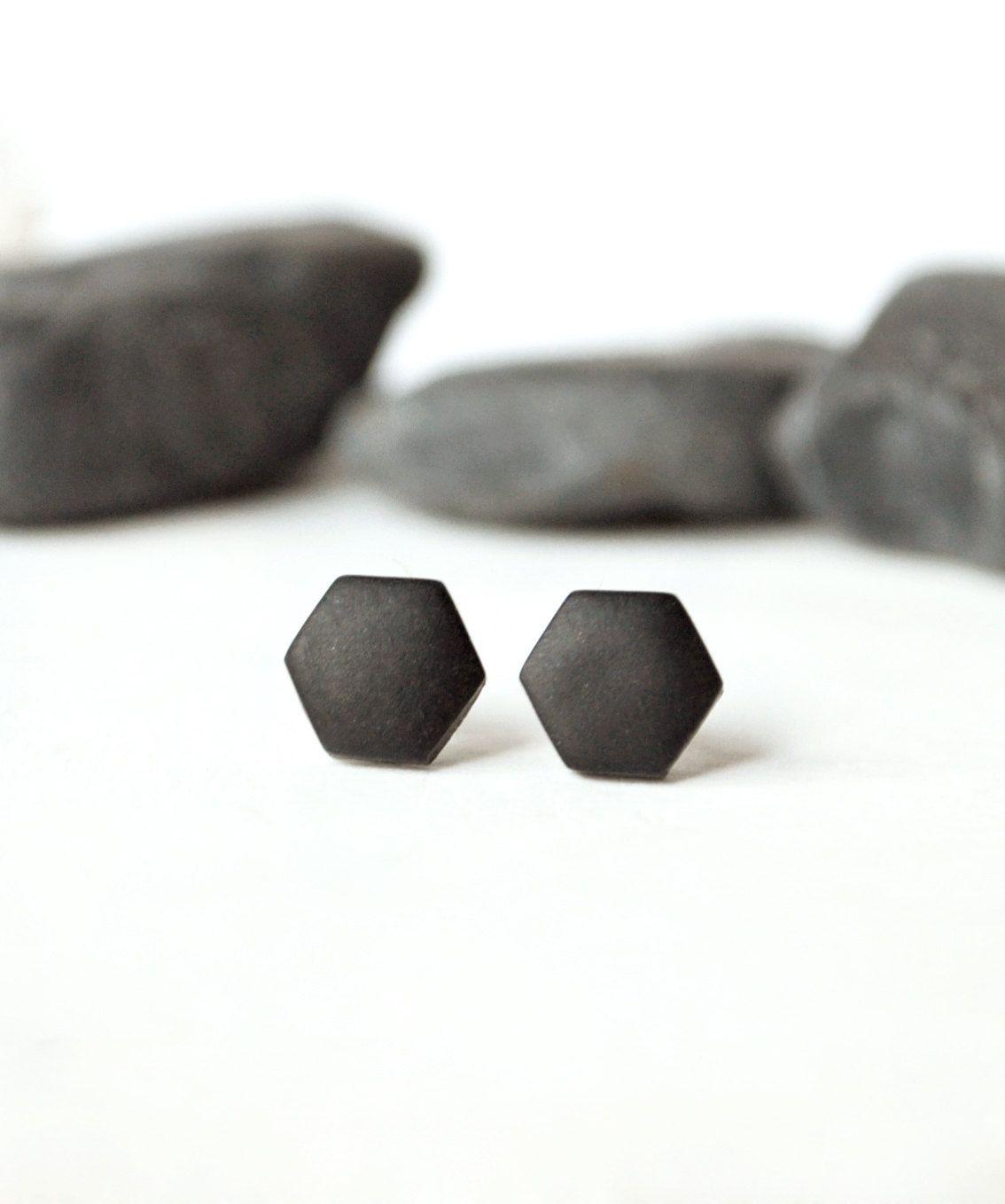 Black Studs, Matte Black Earrings, Earrings For Men, Unisex, Matte Black  Studs