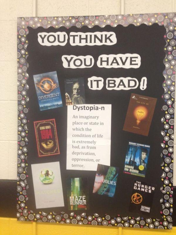 Classroom Bulletin Board Design High School ~ Dystopia bulletin board high school library ideas by
