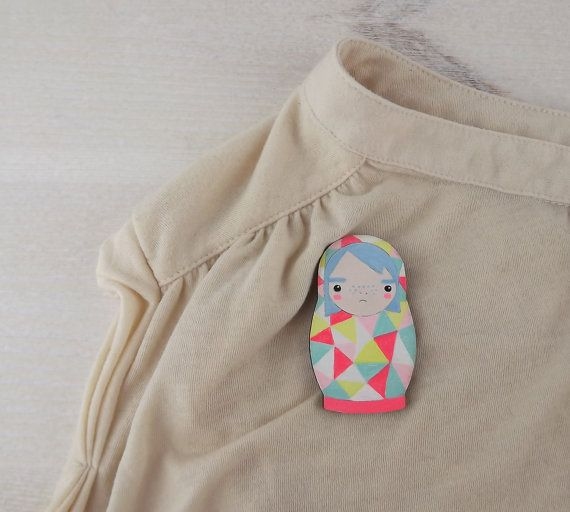 Geometric Neon Brooch Doll Matroyshka Nesting Babushka Russian