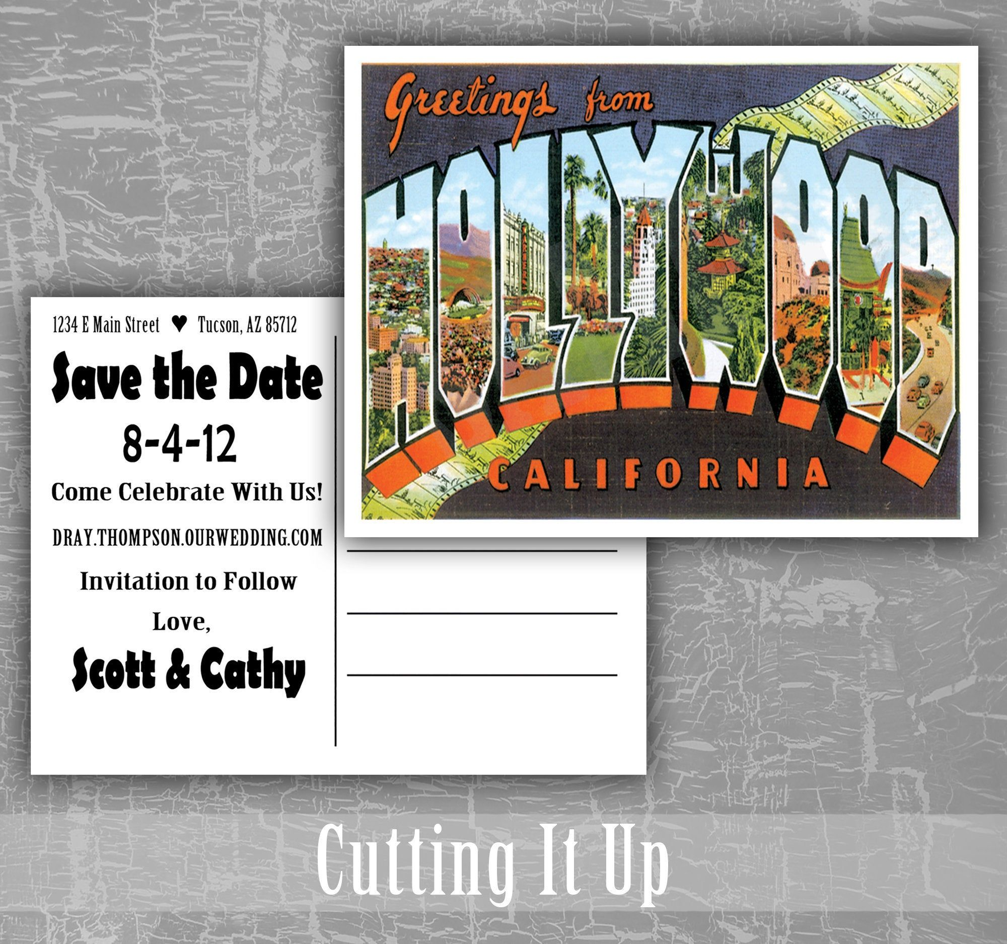 Greetings From Hollywood California Save the Date Postcard