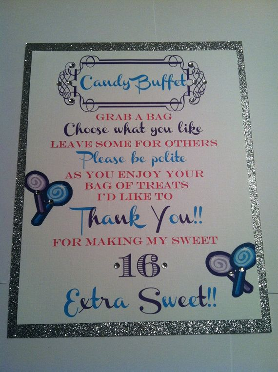 Hardcopycustom Birthday Candy Buffet Signs And By Bellamevents 17 00 Sweet 16 Candy Sweet 16 Candy Bar Candy Buffet Signs