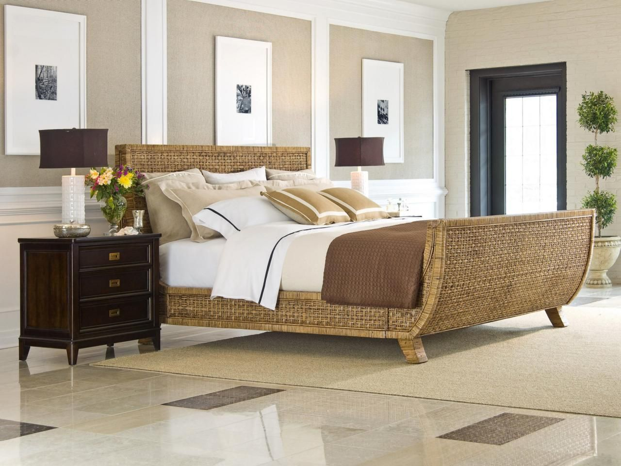 This Light Ious Bedroom Feels Like A Calm Retreat With Neutral Paneled Wallarble Floor Rattan Bed And Dark Nightstand