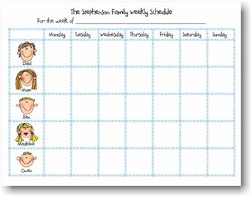 Weekly Schedule Notepads  Back To School  Kids