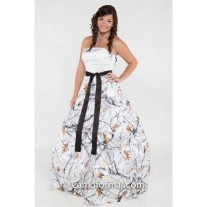 Bridal And Wedding Dress With Camouflage Sash Prom Homecoming Formals