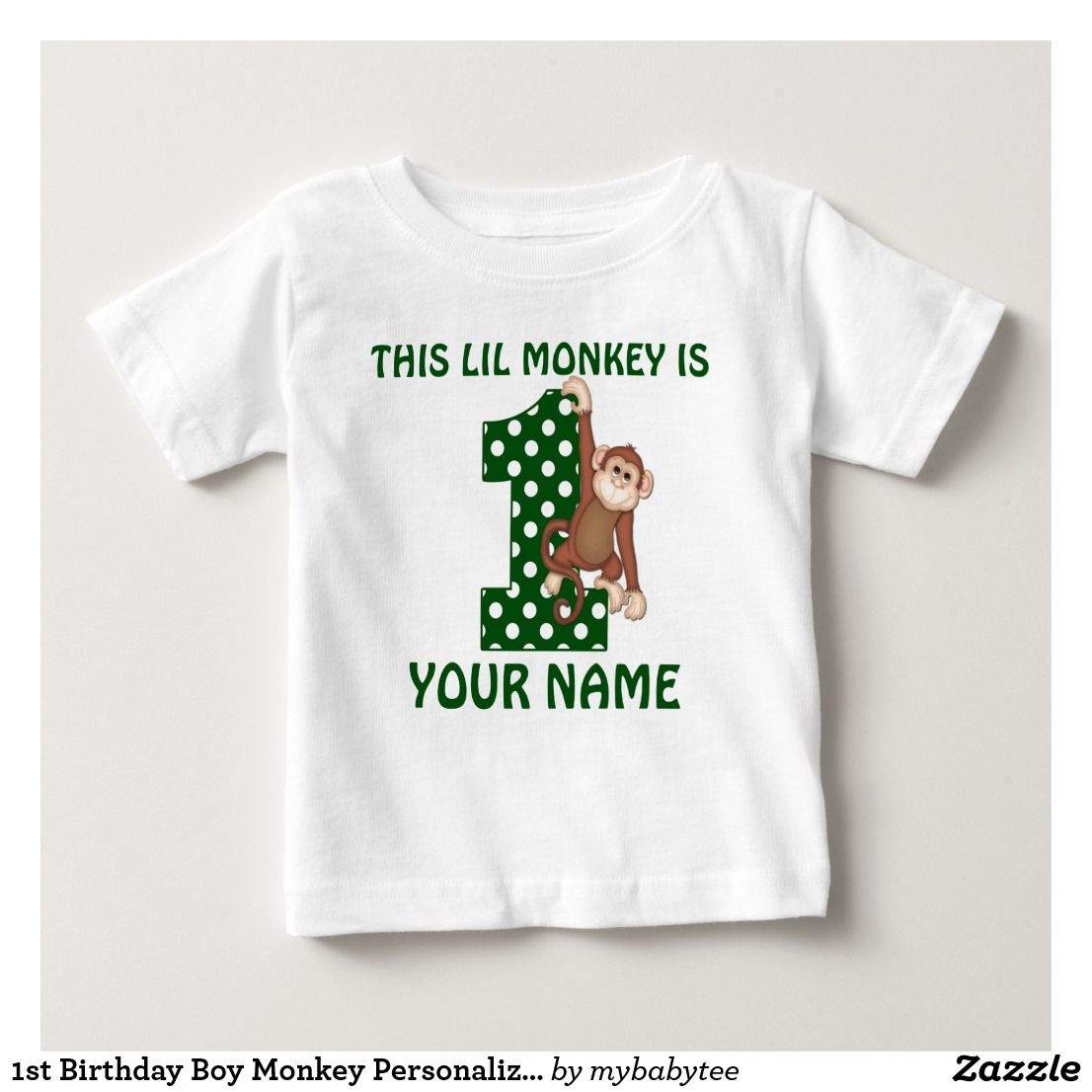 1st Birthday Boy Personalized Name Green Monkey Polka Dot Celebration Jungle Safari Shirt Junglemonkeybirthday