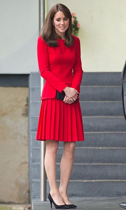 f41f5d9dc63 Kate Middleton Style  The Duchess of Cambridge wearing red dresses ...