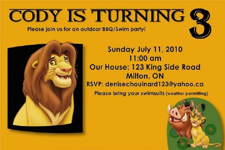 Lion King Birthday Invitation Template Free Invitation Ideas